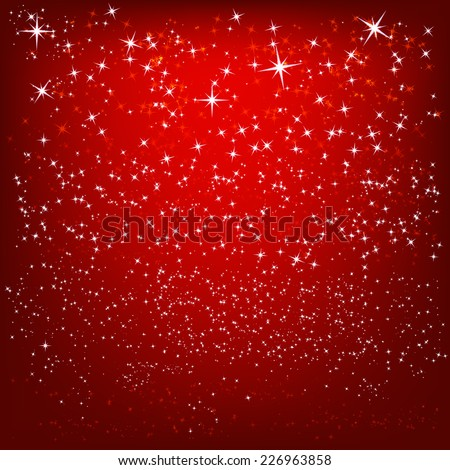 Abstract red background with shiny stars - stock vector