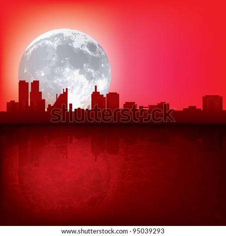 abstract red background with silhouette of city and moon - stock vector