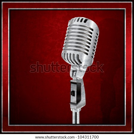 Abstract red background with the retro microphone - stock vector