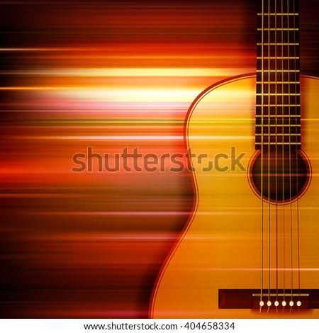 abstract red blur music background with acoustic guitar - stock vector