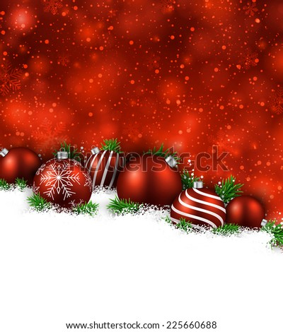 Abstract red christmas background with fir branches and balls. Vector illustration.  - stock vector