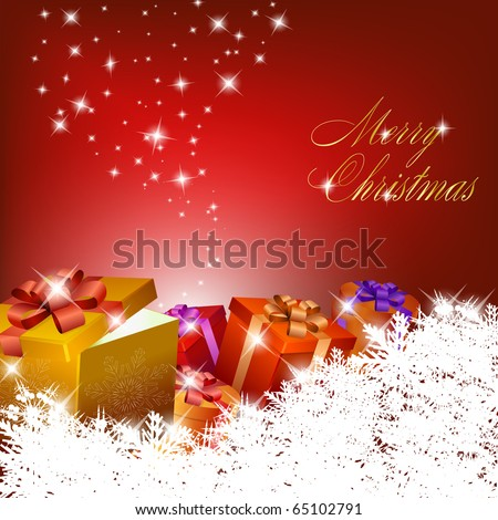 Abstract red christmas background with gift boxes. Vector eps10 illustration - stock vector