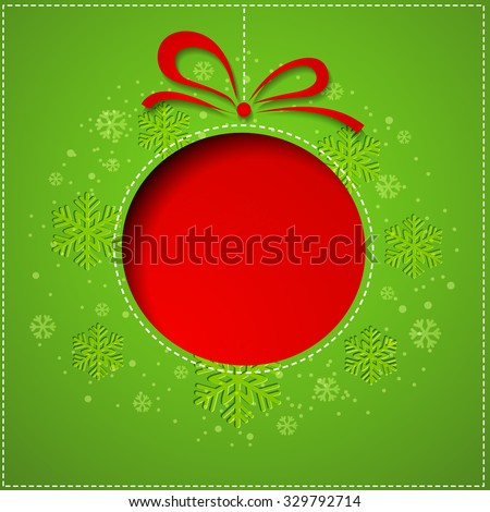 Abstract red Christmas balls cutted from paper on green background. Vector eps10 illustration - stock vector
