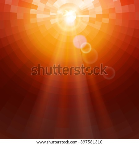 Abstract Red concentric circle shine mosaic vector background. Technology concept wallpaper. - stock vector