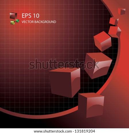 abstract red cubes eps 10 background - stock vector
