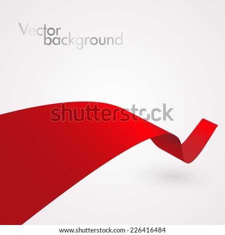 Abstract red curved ribbon - stock vector