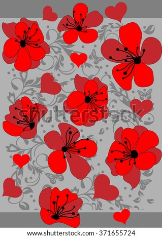 Abstract red floral pattern background - stock vector