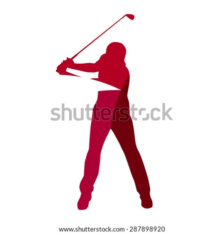 Abstract red golf player geometric silhouette - stock vector