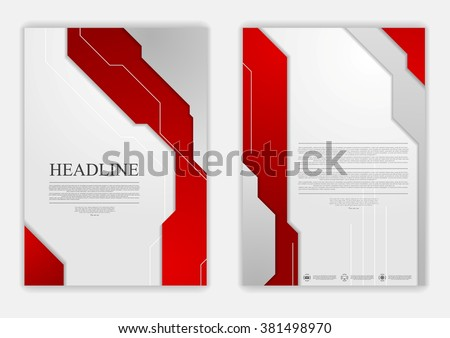 Abstract red grey geometric tech flyer design. Vector background - stock vector