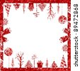 Abstract red grunge Christmas cubic shape stamp with small elements like Christmas trees, hanging Christmas balls & gift boxes for Christmas & other occasions. - stock