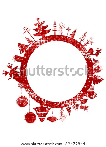 Abstract red grunge Christmas stamp with small elements like Christmas trees, Christmas ball, gift boxes  & Reindeer for Christmas & other occasions. - stock vector