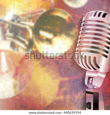 abstract red grunge music background with retro microphone