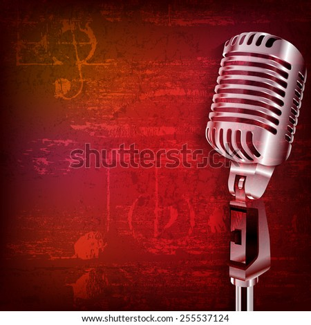 abstract red grunge sound background with retro microphone - stock vector
