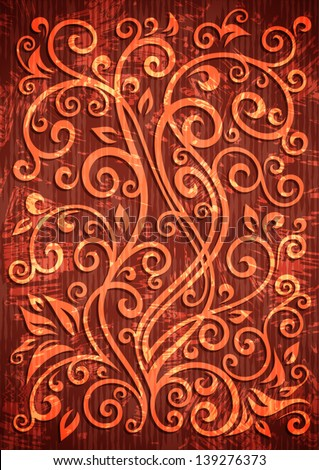 Abstract red grunge vector floral illustration.