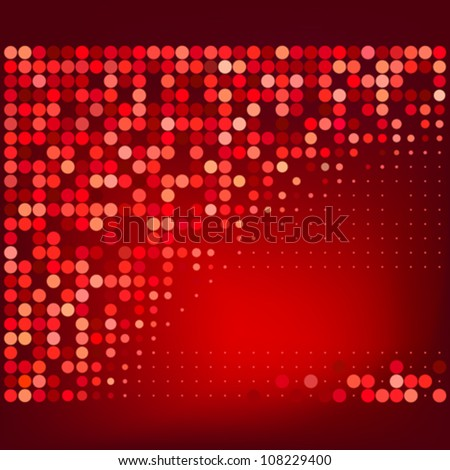 Abstract Red Halftone Dots Vector Background - stock vector