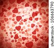 abstract red heart grunge background - stock photo