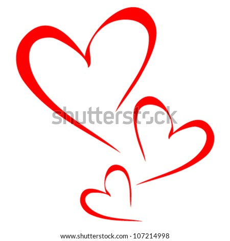 Abstract red heart - vector - stock vector