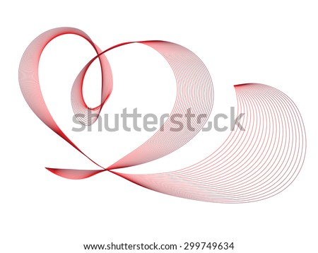 Abstract red heart vector illustration - stock vector