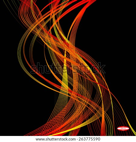 abstract red line orange wave yellow band on black background vector