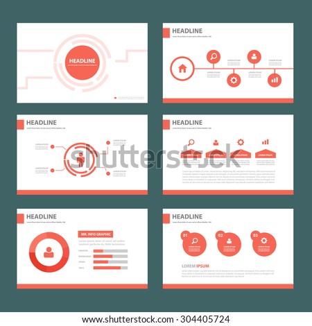 Abstract Red multipurpose presentation brochure flyer template flat design set  - stock vector