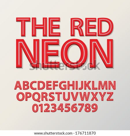 Abstract Red Neon Font and Numbers, Eps 10 Vector - stock vector