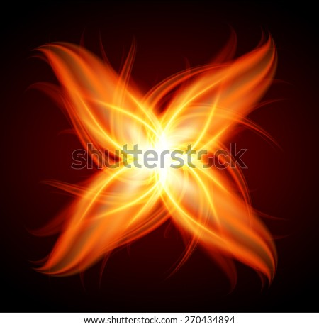 abstract red orange fire flames on a black background. - stock vector