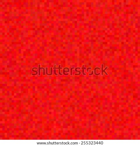 Abstract red pixel background, vector seamless pattern (saved in swatches panel), mosaic effect - stock vector