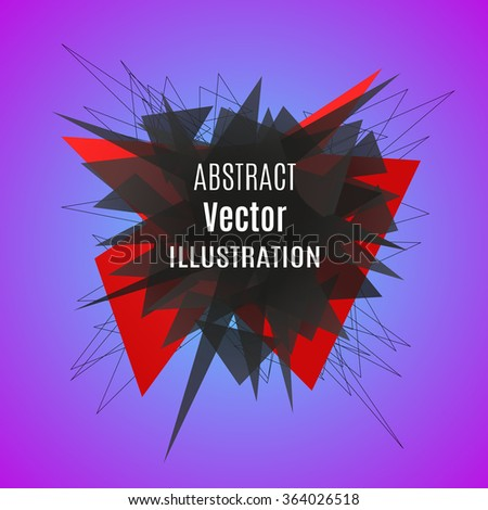 Abstract red polygonal explosion. Triangle banner. Vector illustration. Isolated on a color  background. - stock vector