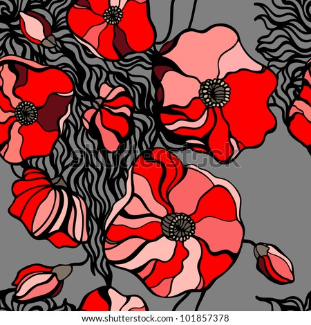 Abstract Red poppies. Seamless pattern vector illustration. - stock vector