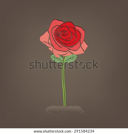Abstract red rose on soil - stock vector