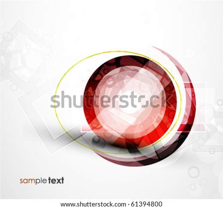 Abstract red round shape. Vector technology background - stock vector
