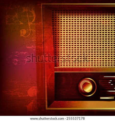 abstract red sound grunge background with retro radio - stock vector