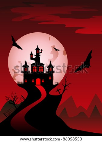 abstract red spooky background with flying bat and scary house
