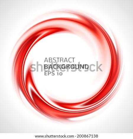 Abstract red swirl circle bright background. Vector illustration for you modern design. Round frame or banner with place for text. - stock vector
