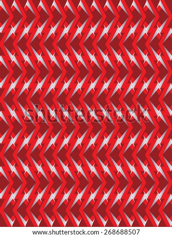 Abstract red twisted long rhombus with silver borders background