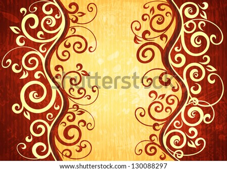 Abstract red vector floral illustration.