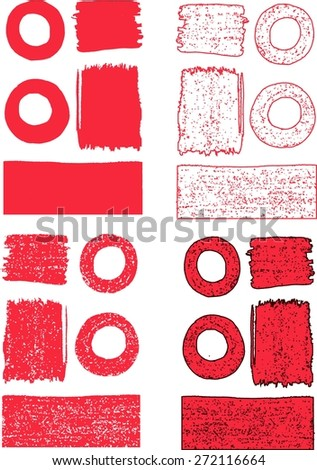 Abstract red vector stains and blots. Grunge background. Abstract vector frames and borders.  Elements for design isolated on white background.  - stock vector