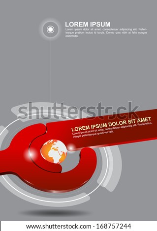 Abstract red vector tech background with globe. Can be used for poster, brochure, cover, flyer - stock vector