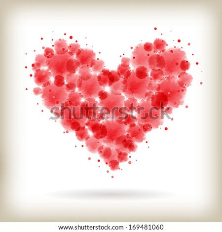 abstract red watercolor drops within heart shape. vector. - stock vector