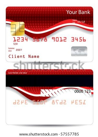 Abstract red wave credit card design - stock vector