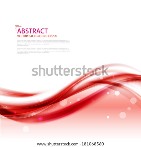Abstract red waves background - Design Template - stock vector