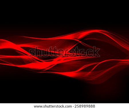 Abstract red waves on the dark background. Vector illustration.  - stock vector