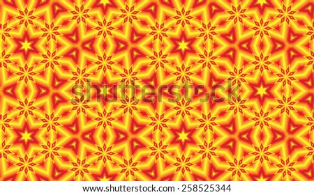 Abstract red-yellow stars seamless pattern vector