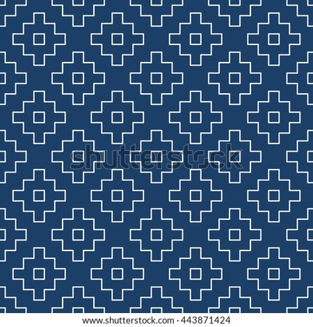 Abstract Repeating geometric background with Square. Vector seamless pattern indigo blue and white. Wallpaper Japanese stylish. - stock vector