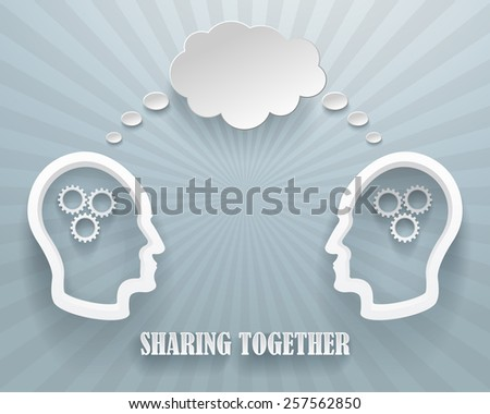 Abstract representation of a sharing workgroup. Two heads with clouds on a blue background. - stock vector