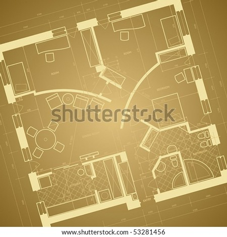 Abstract retro blueprint background. Vector illustration. - stock vector