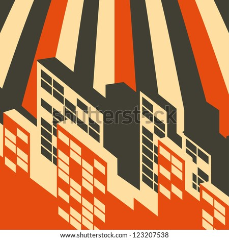 abstract retro city background - stock vector