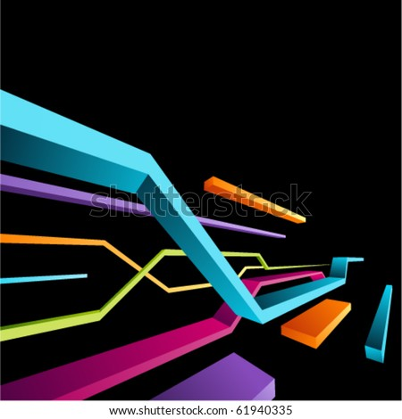 Abstract retro 3d technology lines vector background. Eps 10 - stock vector