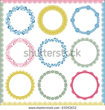 Abstract retro frame elements set. Illustration vector. - stock vector