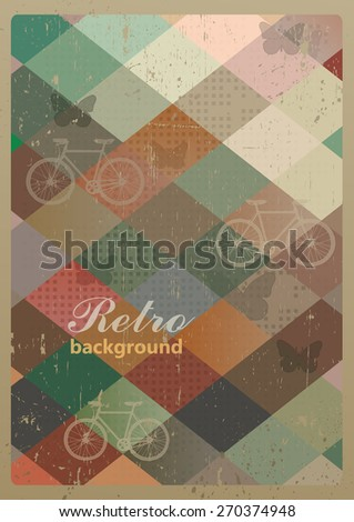 Abstract retro geometric background with bicycles. Vector Illustration - stock vector